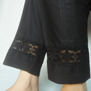 Black - Embroided Trouser Pant For Women - Pure Cotton