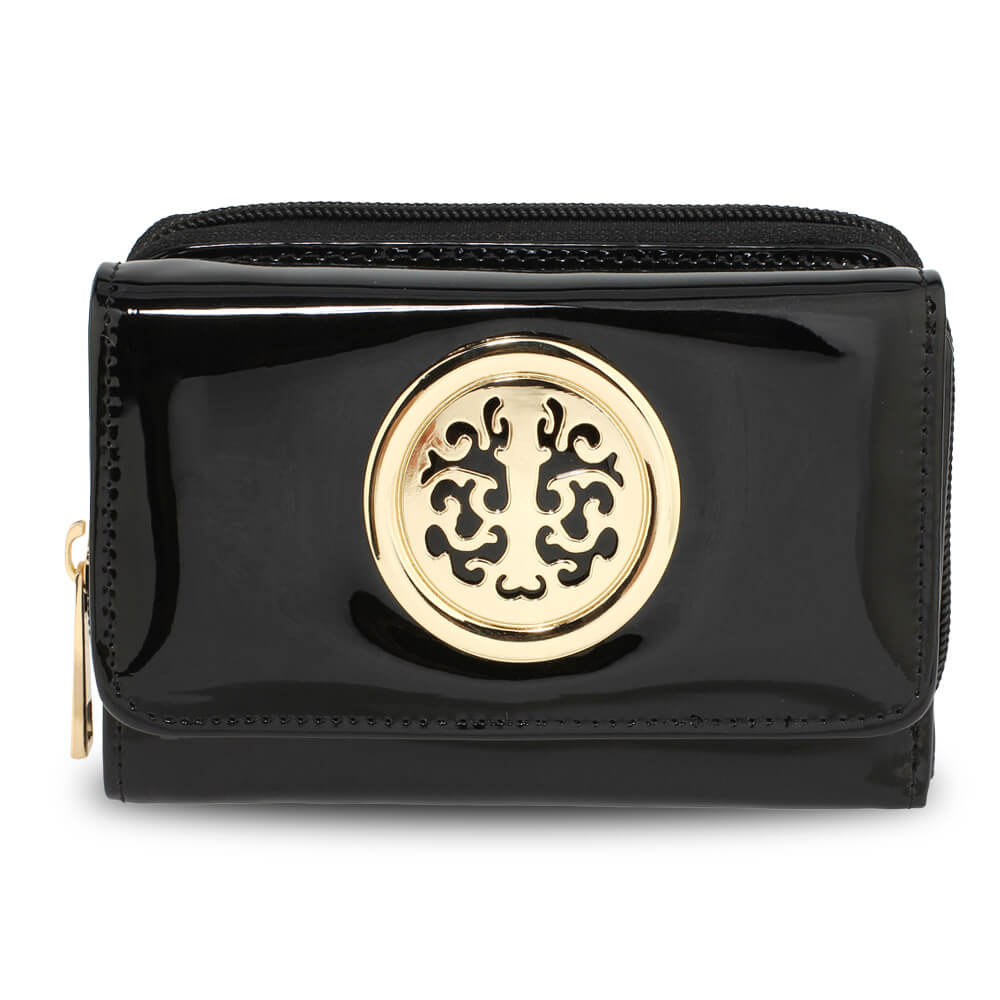 Black Patent PurseWallet with Metal Decoration