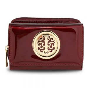 Burgundy Patent PurseWallet with Metal Decoration