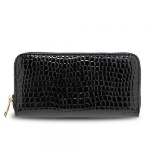 Black Zip Around Crocodile Pattern Purse