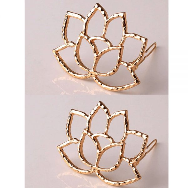 AH07 – Grid Pack of 2 – Floral Gold – Hair pins Clips