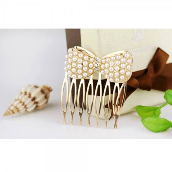 AH08 – 8 Pack of 2 Pearl Gold Hair pins Clips
