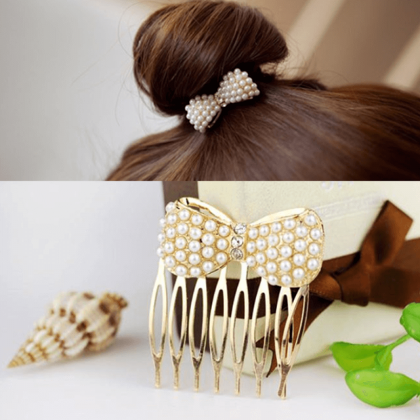AH08 – Grid Pack of 2 Pearl Gold Hair pins Clips