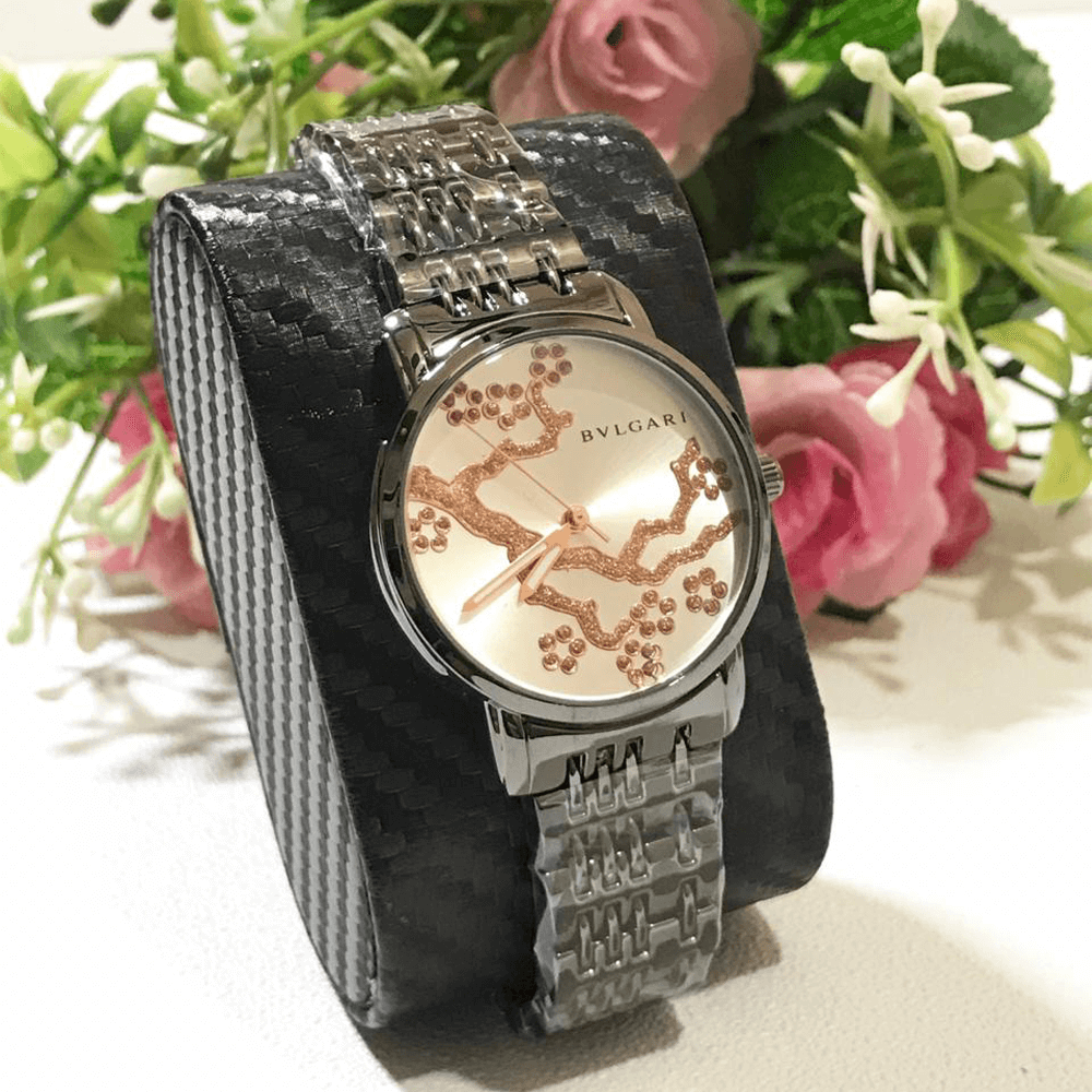 Bvlgari Black Silver Chain Strap Watch for Women