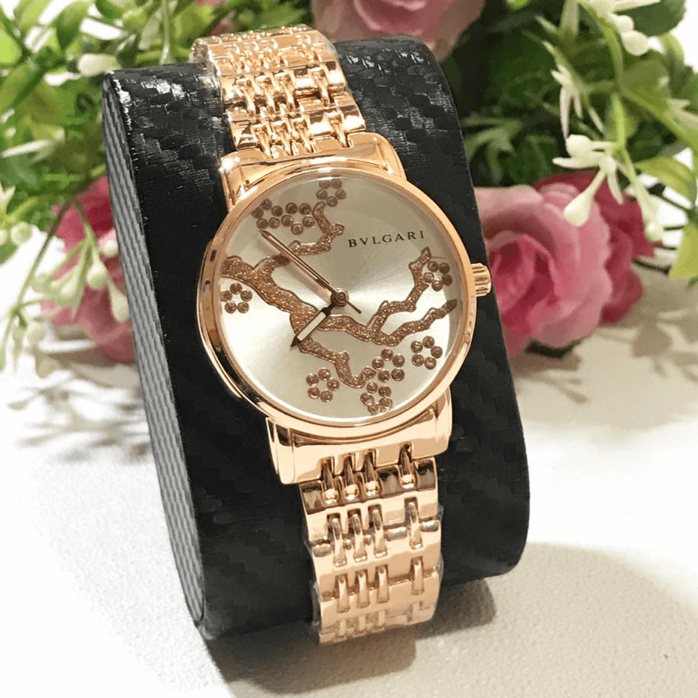 Bvlgari RoseGold Silver Chain Strap Watch for Women