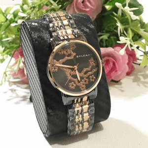 Bvlgari Black Rose Gold Chain Strap Watch for Women