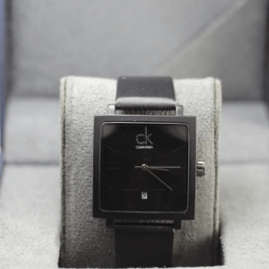 CK Black Analog Square PU Leather Watch For Man &Women