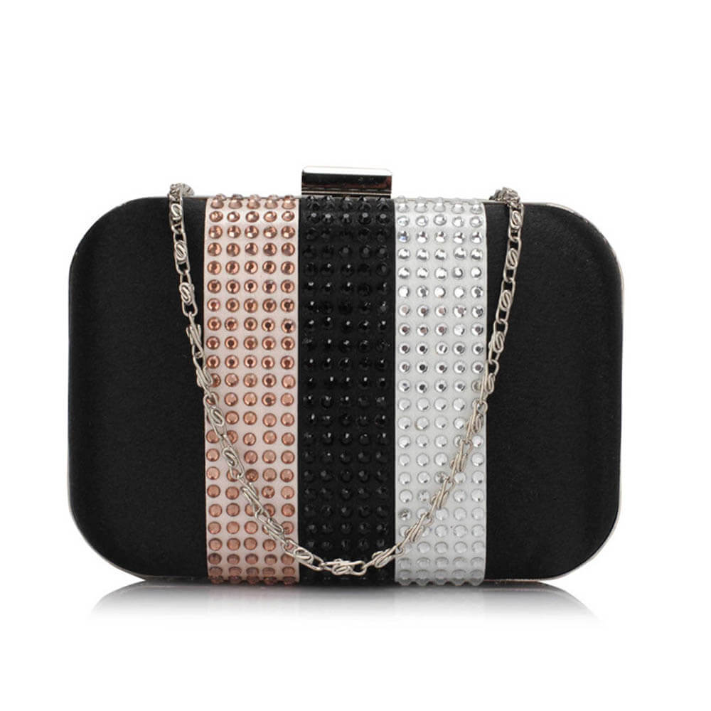 Black Clutch Bag With Diamante Decorative Strips