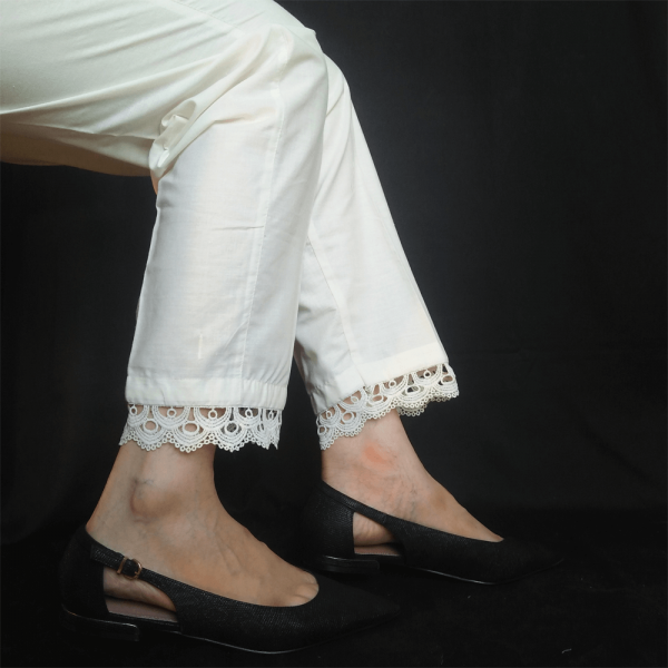 ZT124 – 1 Off White – Trouser Pant For Ladies Women With Lace