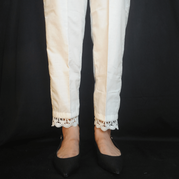 ZT124-2Off White – Trouser Pant For Ladies Women With Lace