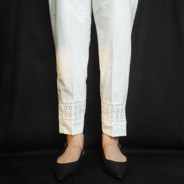 ZT125-2Off White – Trouser Pant For Ladies Women With Lace