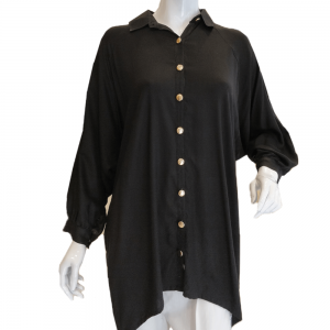Black Top With Front Gold Bottons And cuff Sleeves