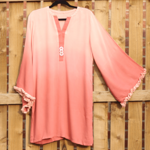 Peach Shirt With Frill Lace Design