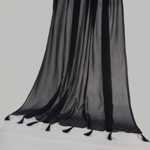 Chiffon Dupatta Large With Bottom Tassels Length 2.5 Yards Width 1.25 Yards Black