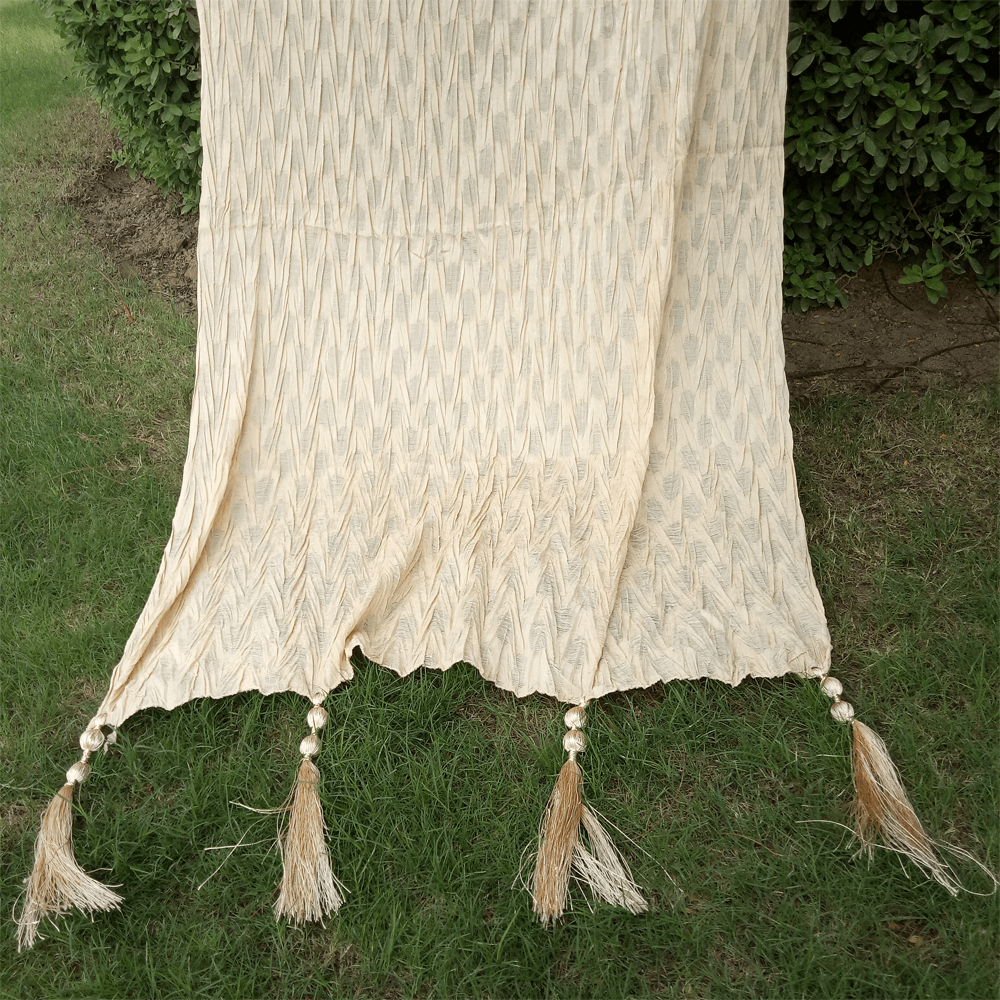 Crush Dupatta - Beige - Bottom Large Tassels