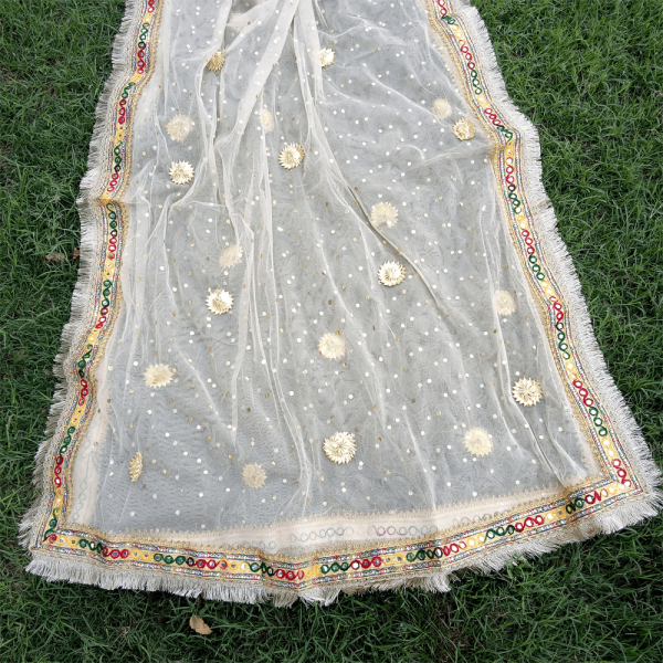 1 ZD193 Gota Work Heavy – Large Fancy Dupatta For Wedding Party Use – Full Length – Beige PNG