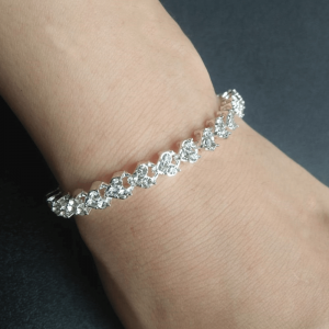 Silver - Diamantes Bracelet Bangle - Length 18 Cm