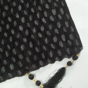 Black - Crush Dupatta - Large With Bottom Tassels - Length