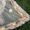 4 ZD193 Gota Work Heavy – Large Fancy Dupatta For Wedding Party Use – Full Length – Beige PNG