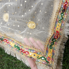 5 ZD193 Gota Work Heavy – Large Fancy Dupatta For Wedding Party Use – Full Length – Beige PNG