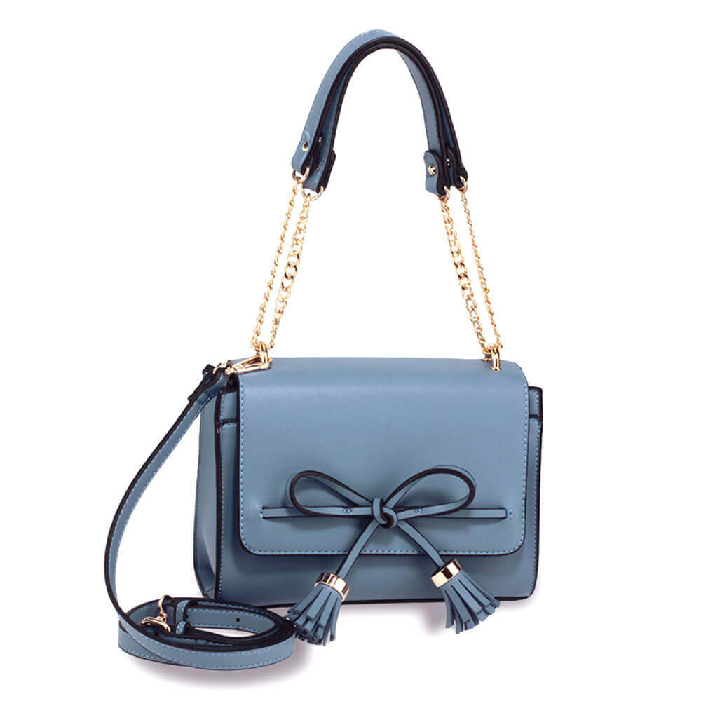 Blue Flap Tassel Cross Body Bag