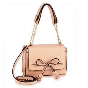 Nude Flap Tassel Cross Body Bag