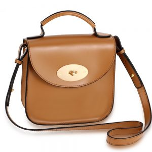 Khaki Flap Twist Lock Cross Body Bag