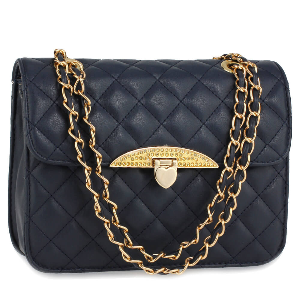 Navy Cross Body Bag With Gold Metal Work