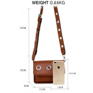 Brown Flap Cross Body Bag