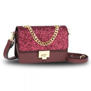 Burgundy Glitter Flap Cross Body Bag