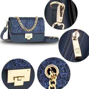 Navy Glitter Flap Cross Body Bag