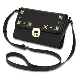 Black Flap Twist Lock Cross Body Bag