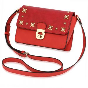 Burgundy White Flap Twist Lock Cross Body Bag