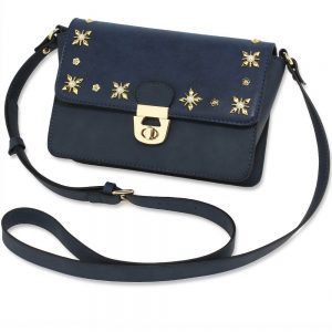 Navy White Flap Twist Lock Cross Body Bag