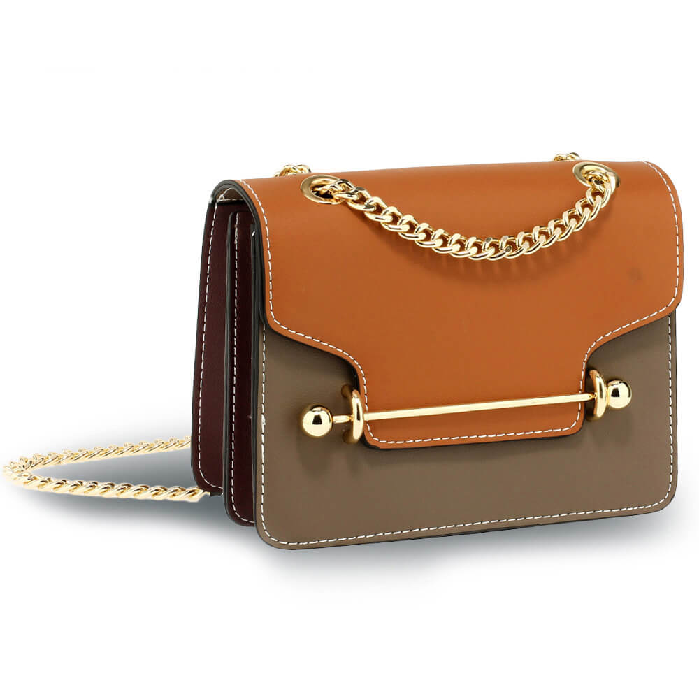 Brown Tan Burgundy shoulder bag