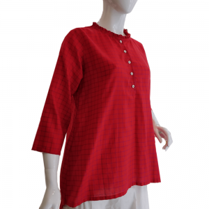 Red - Top For Women - With Front Bottons