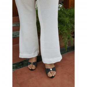 Embossed Cotton Palazzo Stylish Trouser - White