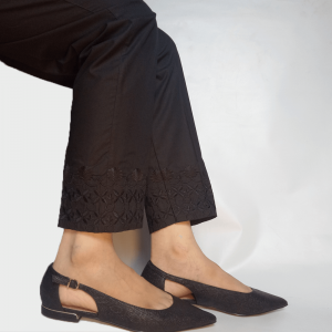 Embroided Trouser Pant For Women Pure Cotton Black