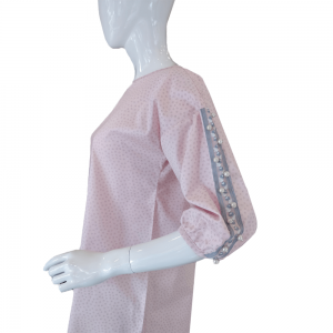 Boat Neck Top With Pearl Sleeves - Soft Cotton