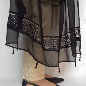Black Chiffon Dupatta Large Lace and Beads Work Length 2.5 Yards Width 1.25 Yards