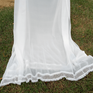 Chiffon Dupatta - White - Large With 4 Sided Heavy Lace - Length 2.5 Yards Width 1.25 Yard