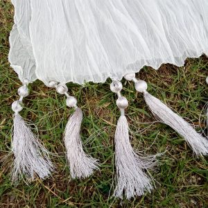 Silver - Crush Dupatta - Large With Bottom Tassels - Length