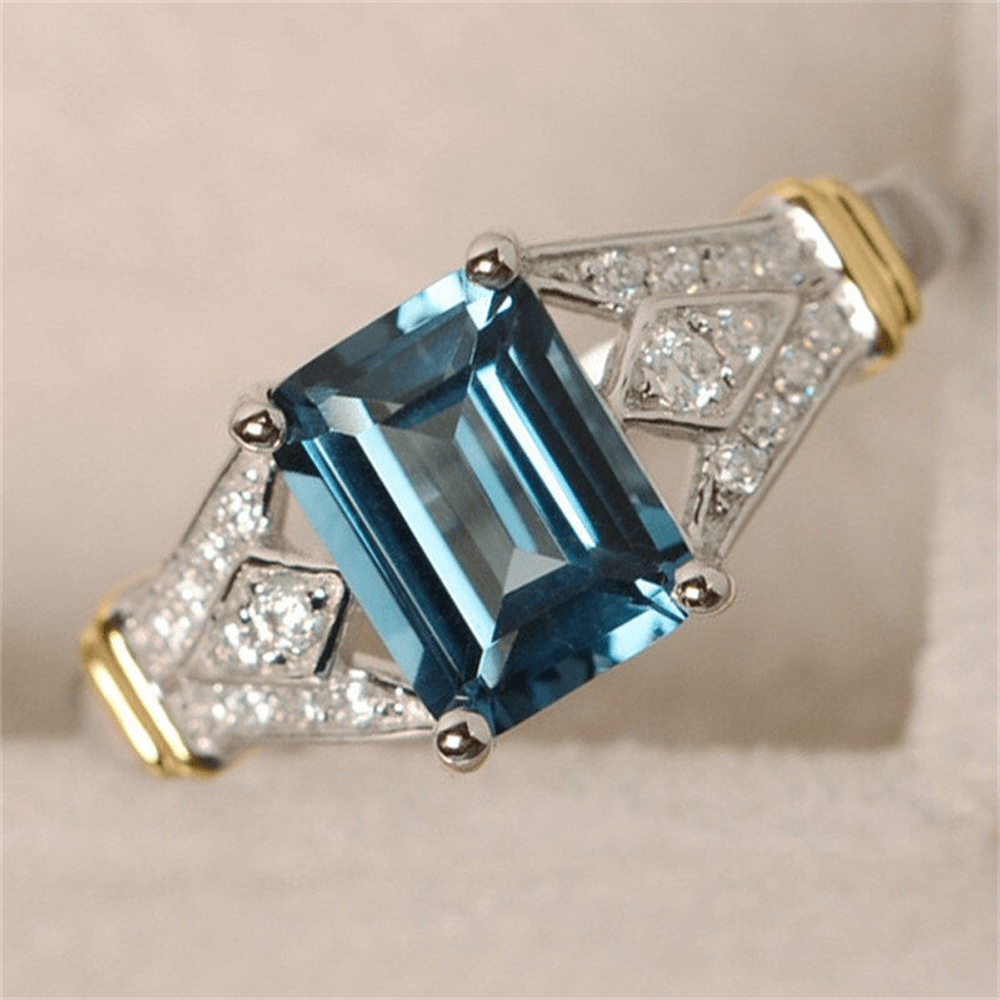 Silver Ring For Women With Large Blue Stone High Quality