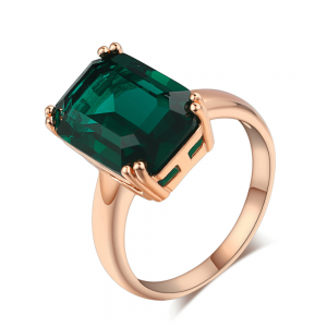 Gold Ring For Women With Large Green Stone High Quality