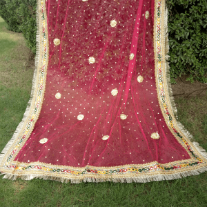 Gota Work Dupatta With 4 Sided Kiran Details On Net