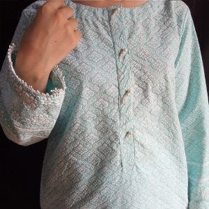 Embossed Kurti For Ladies With Front Pearls