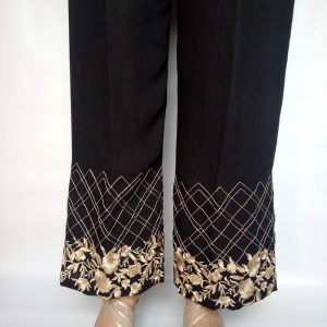 Embroided Palazzo Pant For Women Black
