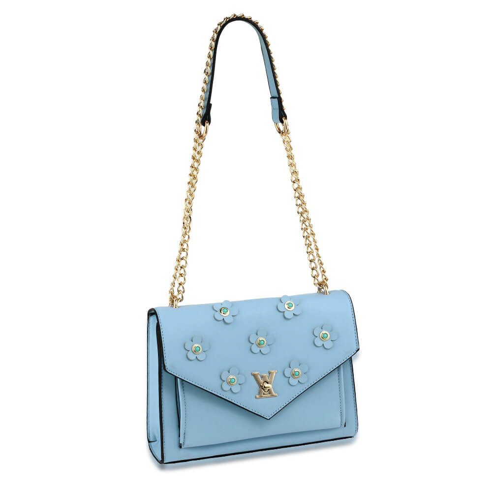 Flap Twist Lock Cross Body Bag