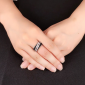Sterling Silver Ring For Ladies With Black and Silver Diamantes