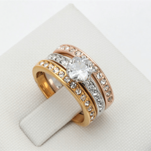 Pieces Ring Set For Women - Gold Gose Gold Silver